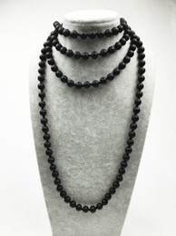 Wholesale Onyx Necklace For Women - ST0312 Black Necklace Long Size Matte Black Onyx Necklace Making 60 inches Knotted Necklace for women mala Jewelry
