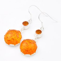 Wholesale Unique Amber - Luckyshine Christmas Day 6 pieces lot 925 silver plated Unique charm Simple and generous Amber earrings for lady party gift E0036