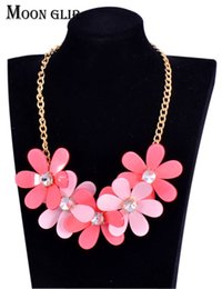 Wholesale anniversary specials - Winter Specials Fashion jewelry Big statement necklace 5 color Acrylic flower Choker Necklace for women accessories
