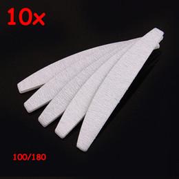 Wholesale Paper Manicure - 10PCS free eva japan sands paper sanding good quality manicure professional 100 180 grey zebra half moon nail file for salon
