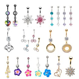 Wholesale Gem Body Button - 2016 Hot Sale Gem mixed different designs Belly Button Rings 316L Stainless Steel Navel Piercing Dangle Belly Rings Body Jewelry Gift 12PCS