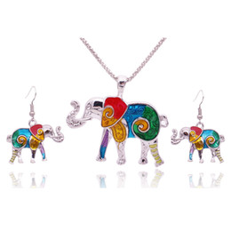 Insieme all'ingrosso del vaso online-Set di 5 pezzi di gioielli di elefante smalto colorato per ragazze Set di orecchini di elefante animale collana unico gioielli etnici
