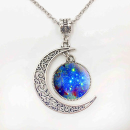 Wholesale Half Moon Pendant Necklace - Silver Jewelry Galaxy Star Glass Cabochon Art Image Pendant Necklace Half Moon Chain Necklace for Women Creative Gifts