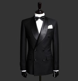 Wholesale Double Breasted Suit Three Piece - 2016 Black Men Tuxedo Suit Two Piece Double Breasted Shawl Lapel Custom Made Groom Suits for Wedding New Arrval High Quality