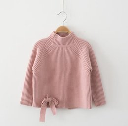 Wholesale Kids Wool Clothes - Kids Sweater Winter Warm Wool Cottons Children Clothing Tops Boys Girls Clothes Long Sleeve T shirt Bowknot Pullovers