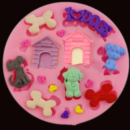 Wholesale Dog Mold Mould - Silicone 3D cake moulds lovely dog pet house fondant mold chocolate suarcraft jelly moules bakeware kitchen tools WHOLESALE