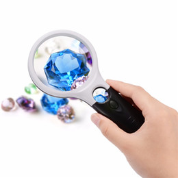 Wholesale Magnifying Glass Illuminated - 3X 45X Bifocal Double Lens Handheld Illuminated Magnifier Magnifying Glass Loupe with 3 LED Lights F584