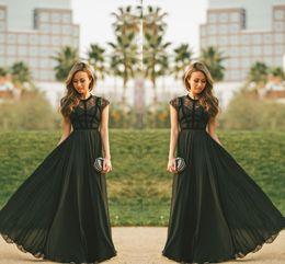 2019 robes de bal turquoise filles noires Élégante pure dentelle noire robe de soirée de soirée formelle coiffée manches une ligne de mousseline de soie bijou cou femmes modeste longues robes de bal 2019 maxi robes