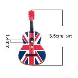 Wholesale Union Pc - Wood Sewing Scrapbooking Button Guitar Red Two Holes Union Jack Flag Pattern 3.5cm x 17.0mm,50 PCs 2015 new M65070