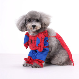 Wholesale Teddy Black Cat Costume - Spider-man Super Dog Superhero DOG Bat man dog clothes cat clothing four legs Change to pack puppy pet teddy mixs Christmas gift
