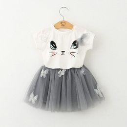 Wholesale Girls Cat Set - Baby Girls Cartoon Lace Tutu skirt Sets Cat Top T shirt+Skirt 2pcs sets Infant Summer Short Skirt Suit Children Outfits Free shipping E1014