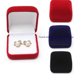 Wholesale insert storage - Fashion Small Red Black Blue Velvet Blocked Jewelry Package Box Case Insert Ring Stud Earrings Storage Packaging Gift Boxes Free Shipping