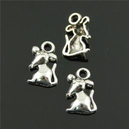 Wholesale Bronze Rat - 200pcs lot 12*7mm 2 colors antique bronze, antique silver plated rat charms
