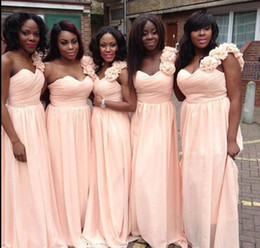 Wholesale Long Baby Blue Prom Dresses - Elegant Baby Pink Cheap Bridesmaid Dresses 2017 One Shoulder Pleats Chiffon Long Wedding Guest Party Gowns Evening Prom Dresses