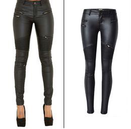 Wholesale Leather Pants Zippers - Faux Leather Pants Women Elastic Zipper Leather Pants Trousers Plus Size 2017 Leren Broeken Clothing Slim Fit Pencil Pants