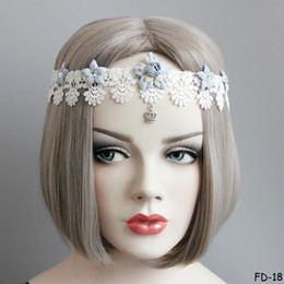 Wholesale Wedding Lace Headbands - Bohemian Lolita Lace Dangle Headband Cosplay Masquerade Party Princess Crown Rhinestone Tassel Head Hairband Bride Beach Wedding Headpiece