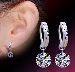 Wholesale Crystal Drop Ball Earrings - 925 Sterling Silver Drop Earrings Shambala Crystal Ball Stud Earrings Platinum Plated Round Austria AAA Cubic Zirconia Dangle Charm Jewelry