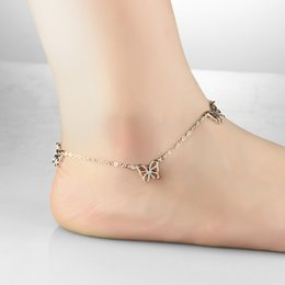 Wholesale Copper Legs - Butterfly Womens Anklets Platinum Plated Foot Bracelet Cube Beads Pendant Expandable Ankle Chain Leg Jewelry Bridal Gift