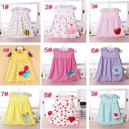 Wholesale Cheap Sleeve Dresses - baby girl cotton dresses summer cartoon skirt embroidered kids sleeveless A line dot flower striped princess dress for 0-2T children cheap