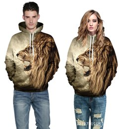 Wholesale Lion Winter Hat - 2016 New Autumn Winter 3D Animal Lion Print Punk Fashion Sport Women Hoodies Coat With Hat Sweatshirts Couples clothing Hooded Pullovers