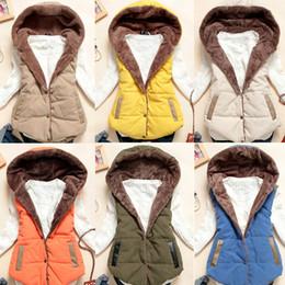 Wholesale Woman Winter Fashion Vests - 3XL 6-Colors Winter Women Vest Coat 2018 Winter Fashion Female Vest Coral Fleece Hooded Fur Thickened Cotton vest Size Female H50