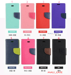 Wholesale Iphone5 Packing - Mercury Wallet Pu leather TPU Two Color Soft KickStand Case Flip Cover For Samsung S7 S7edge For Iphone5 5s 5SE 6 6s Plus PolyBag Packing