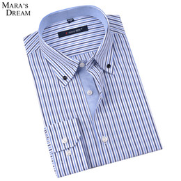 Wholesale Xl Work Shirt Mens - Wholesale-Mara's Dream Mens Long-sleeved Plaid Striped Dress Shirts Double-collar Regular Fit Classic Business Casual Work Shirt Men