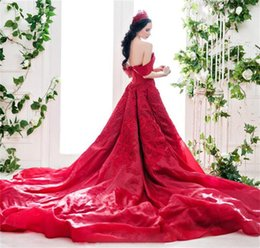Wholesale Long Dresses China - Red Gorgeous Sexy Wedding Dresses Off The Shoulder Embroidery Organza Wedding Dress China With Long Train Custom Made Back Sexy Bridal Gowns