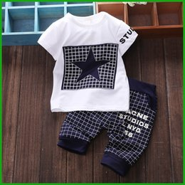 Wholesale Popular Boys Clothing - free shipping factory baby boys star t-shirt short pants 4 colors available hot selling striped trousers popular summer children clothing
