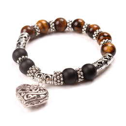 Wholesale Tigereye Pendant - Heart Pendant Charm Bracelets Women and Men Frosted Stone Beads Bracelet Handmade Tigereye Beaded Bracelet Jewelry