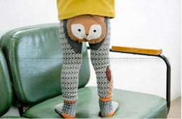 Wholesale Stripe Leggings Girls Autumn - Baby PP Pants Cartoon Stripe Baby Leggings Elastic Cotton Soft Girls PP pants fox Penguin Lion Kids Tights