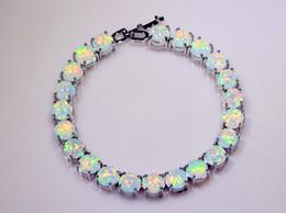 Wholesale Opal Bracelets - Wholesale & Retail Fashion 7.5Inches Fine white pink orange Fire Opal Bracelet 925 Silver Plated Jewelry For Women BNT16070305