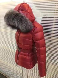 Wholesale Women S Down Coat Belt - M Brand Large Raccoon Fur Collar Hooded Down Coat With Belt Waist Thick Duck Down Parkas Red Black Color WOMEN 2017 Counter down jacket