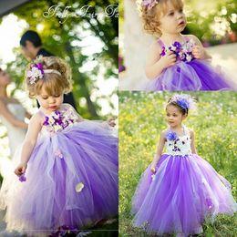 Wholesale Cheap Cute Puffy Dress - 2017 New Cute Princess Purple Tulle Flower Girls' Dresses Hand Made Flower Puffy Cheap Little Girl Dresses In Stock MC0194