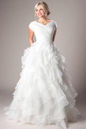 Wholesale Women Church Dresses - Modern A-line Ball Gown Ruffles Organza Modest Wedding Dresses With Cap Sleeves Pleats Beaded Women Church Wedding Gowns