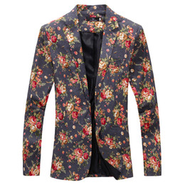 Wholesale Costume Suit Jacket - Wholesale- Mens Royal Red Floral Blazer Slim Fitted Party Single Breasted Blazers Men One Button Suit Jacket Stage Costumes For Singers