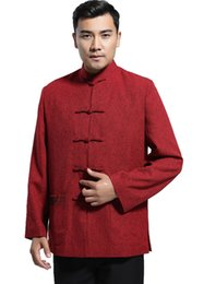 Uomini vestiti di lana online-Shanghai Story Blend Woolen Chinese Vintage Jacket Abbigliamento uomo National Trend Giacca cappotto Capispalla Tang Suit Rosso