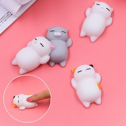 Wholesale Big Cats - 10pcs Mini Squeeze Toy Squishy Cat Cute Kawaii doll Squeeze Stretchy Animal Healing Stress Hand Fidget vent Toys Paste on for cellphone Case