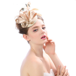 Wholesale Tea Party Fascinator Hats - 2017 New Wedding Hair Accessories Bridal Headwear Fashion Tea Party Hats Feather Bridal Fascinator Lady Hats for Women 9 color hats