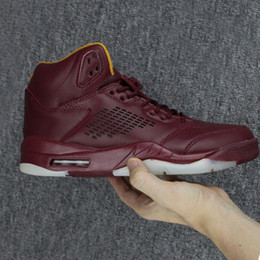Wholesale Red Wine Fabric - Top Quality 5s 5 Premium Bordeaux Wine Red Blue Suede White Cement Men Basketball Sport Shoes Ship with Box