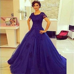 Wholesale Short Sleeve White Debutante Gowns - Royal Blue Ball Gowns Quinceanera Dresses 2016 Free Shipping Debutante Vestido De Baile Elegant Prom Dresses with Short Sleeves