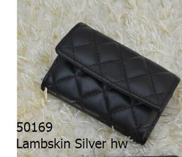 Wholesale Polka Dot Knit Fabric - 50169 Women Black Lambskin Caviar Leather Lambskin Leather Coin Purse Small Purse Mini Card & ID Holders
