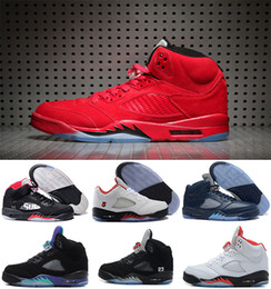 Wholesale Fires Air - Air retro 5 men Basketball Shoes Olympic OG metallic Gold Raging Bull Red blue Suede Black Metallic Space jam Fire Red Sport Sneakers