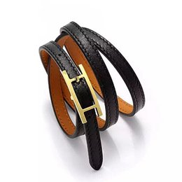 black belt silver plate Coupons - Jewelry wholesale H belt buckle, three layer leather bracelet, Kell bracelet, H letter leather, men and women Bracelet