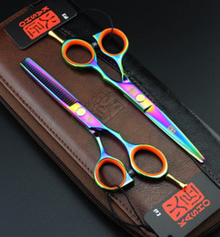 Wholesale Wholesale Thinning Shears - Wholesale-2 Scissors+Bag Kasho Hot 5.5 6 Inch Hairdressing Scissors Hair Professional Cutting Thinning Barber Shears Sets Hairdresser Tool