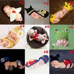 Wholesale Batman Costume Cape - Baby Newborn Photography Props Costume Hand Crochet Knit Infant Beanie Hat with Cape Animal Design Wing Batman Policeman