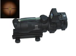 Wholesale Acog Sight 4x32 - Hunting ACOG Style 4X32 Real Fiber Trijicon Duel Illuminated Sight Scope RMR Micro Red or Green Fiber w  RMR Micro Red Dot