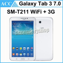 Wholesale Factory Refurbished Cameras - Refurbished Original Samsung Galaxy Tab 3 SM-T211 7.0 inch WIFI + 3G 1GB RAM 8GB ROM 3.0MP Camera White Color Factory Unlocked Full Set DHL