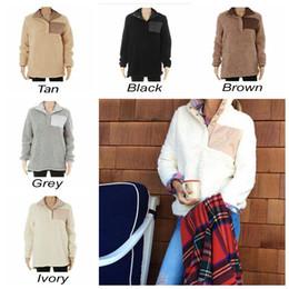 Wholesale Girls Winter Wholesale - Sherpa Pullover Women Winter Fall Fleece Hoodie Sweatshirt Oversized Half Button Sweaters 5 Colors 50pcs OOA3493