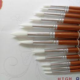 Wholesale Acrylic Paint Art Supplies - 12Pcs lot Round Shape Nylon Hair Wooden Handle Paint Brush Set For Art School Watercolor Acrylic Painting Supplies